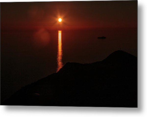 Sea, Mountains, Sunset, Sun Sinking Over The Horizon Metal Print