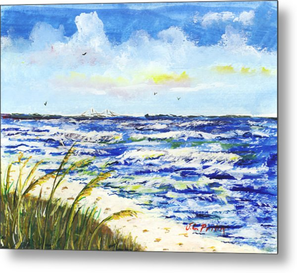 Sea Oats And Skyway Metal Print by JC Prida
