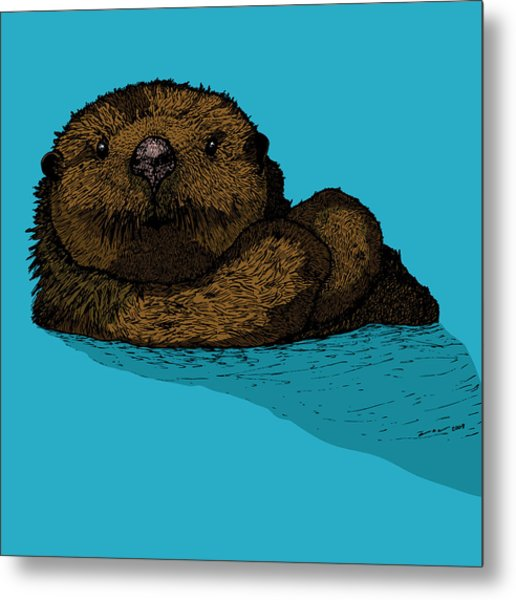 Sea Otter - Full Color Metal Print by Karl Addison
