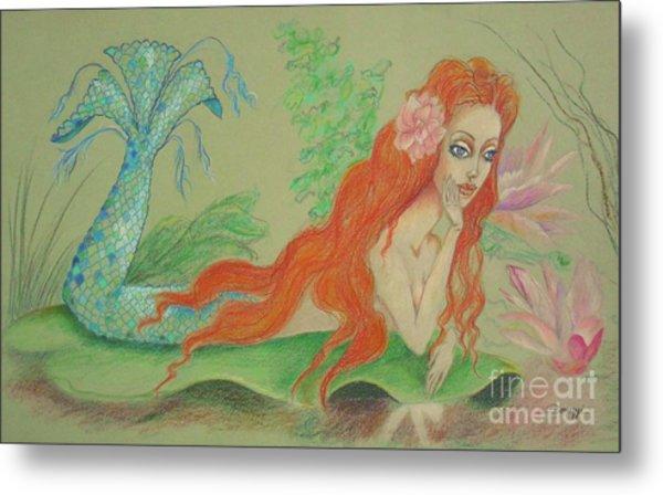 Sea Siren, Resting -- Whimsical Mermaid Drawing Metal Print