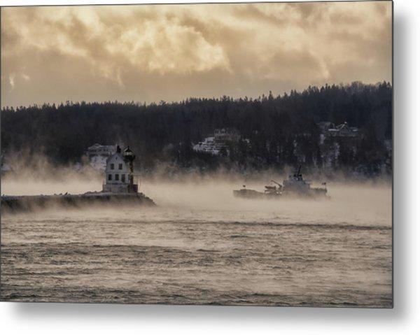 Sea Smoke At Rockland Breakwater Light Metal Print