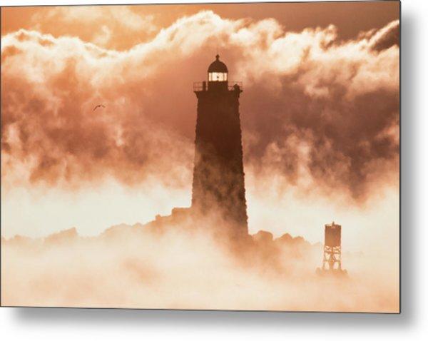 Sea Smoke At Whaleback Lighthouse Metal Print