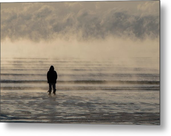Sea Smoke Thinking Man Metal Print