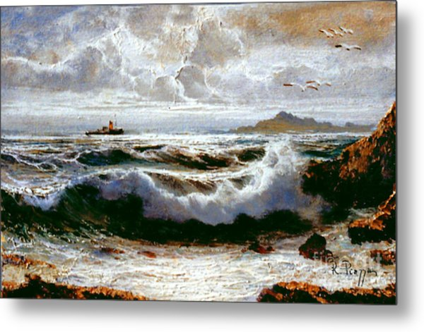 Metal Print featuring the painting Sea Storm by Rosario Piazza
