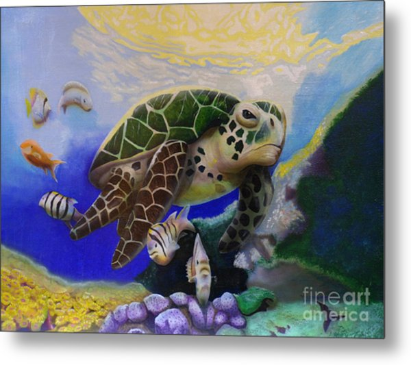 Sea Turtle Acrylic Painting Metal Print