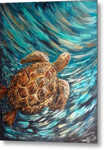 Sea Turtle Wave Guam Metal Print