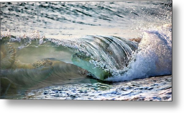 Sea Turtles In The Waves Metal Print