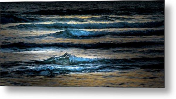 Sea Waves After Sunset Metal Print