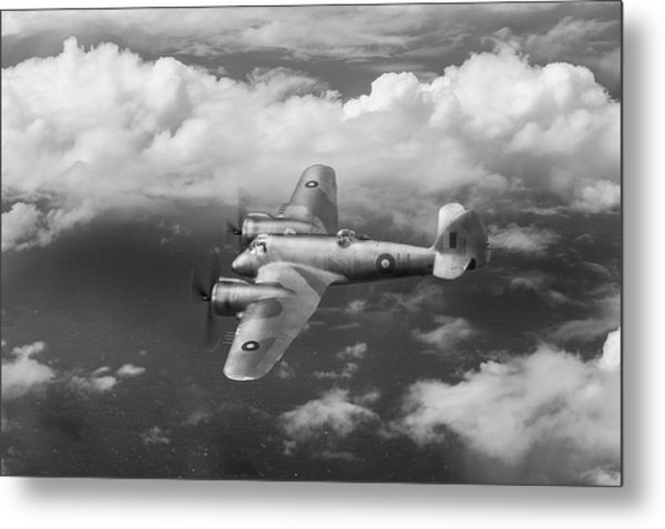 Metal Print featuring the photograph Seac Beaufighter Bw Version by Gary Eason
