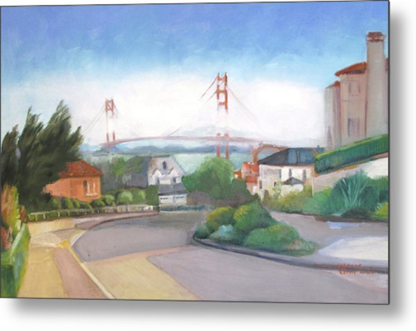 Seacliff Vision With Golden Gate Bridge In Fog Metal Print