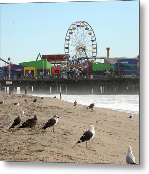 Seagulls And Ferris Wheel Metal Print