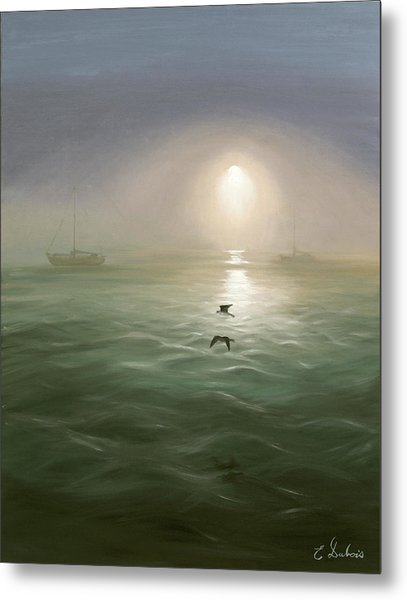 Seagulls In The Mist Metal Print
