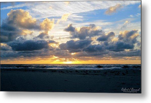 Seagulls On The Beach At Sunrise Metal Print