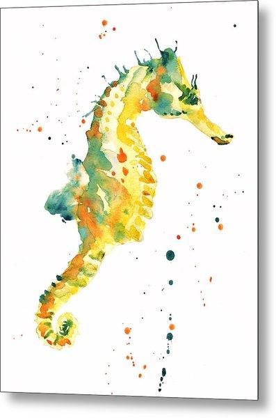 Seahorse  - Yellow Seahorse Metal Print