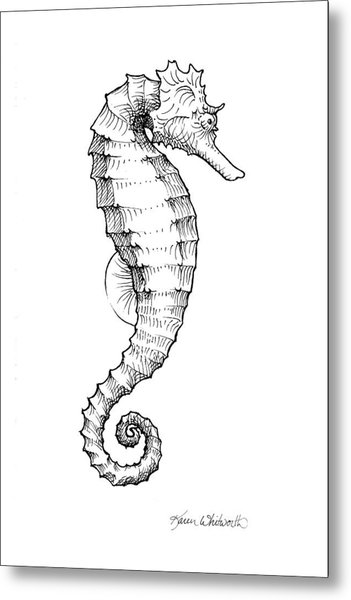 Seahorse Black And White Sketch Metal Print