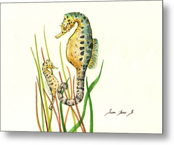 Seahorse Mom And Baby Metal Print