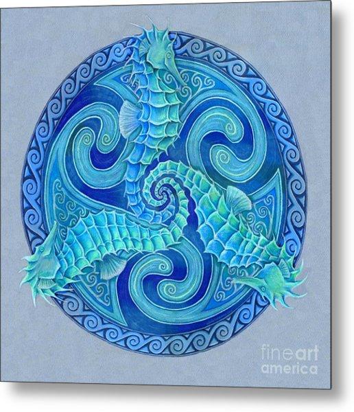 Seahorse Triskele Metal Print