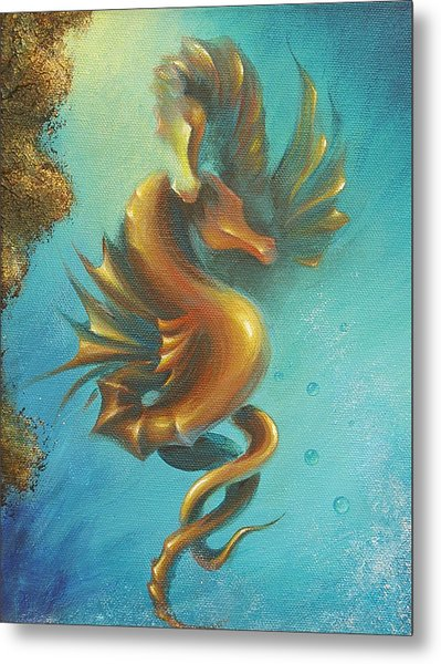 Seahorses In Love II  Metal Print