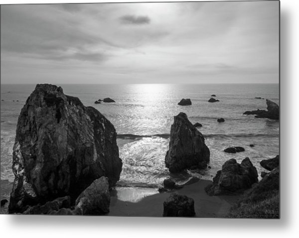 Seascape Jenner California IIi Bw Metal Print