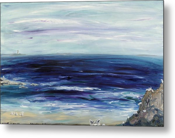 Seascape With White Cats Metal Print