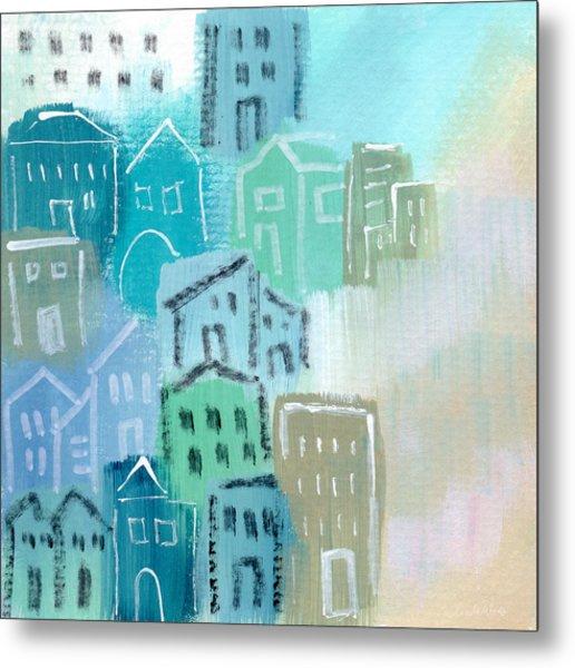 Seaside City- Art By Linda Woods Metal Print