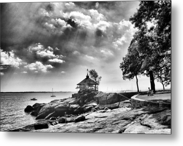 Seaside Gazebo Metal Print