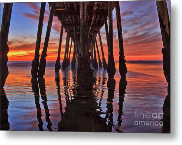 Seaside Reflections Under The Imperial Beach Pier Metal Print