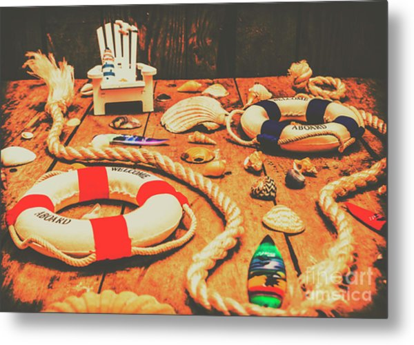 Seaside Ropes And Nautical Decks Metal Print
