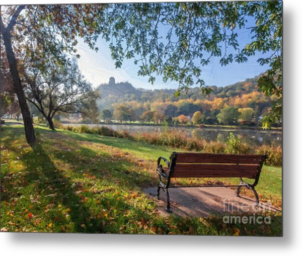 Seat With A View Oil Painting Style Metal Print