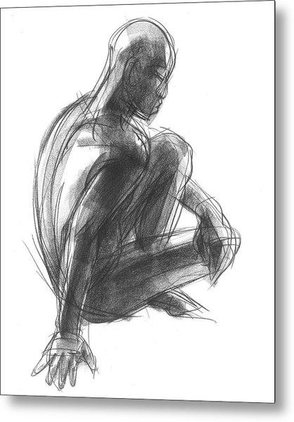 Seated Male Figure Study Metal Print