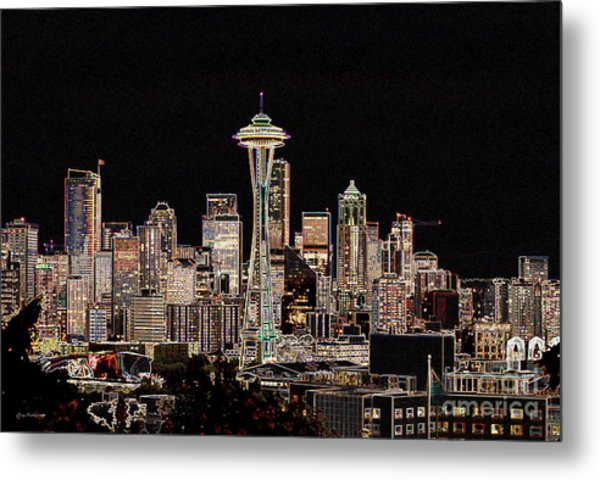 Seattle A Glow Metal Print