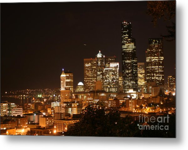 Seattle At Night Metal Print by Robert Torkomian