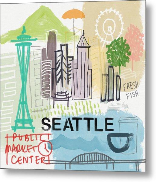 Seattle Cityscape- Art By Linda Woods Metal Print