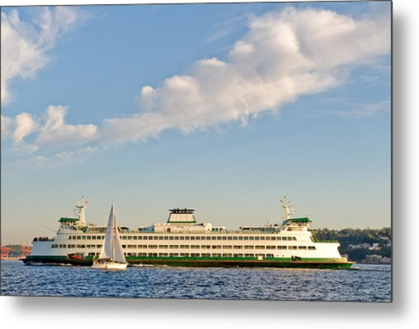 Seattle Ferry Boat Metal Print by Tom Dowd