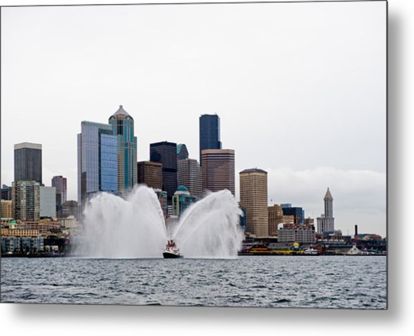 Seattle Fire Boat Metal Print by Tom Dowd