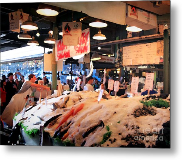 Metal Print featuring the photograph Seattle Fish Throw Pike St Market by Peter Simmons