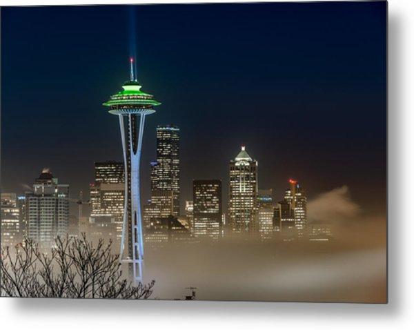 Seattle Foggy Night Lights Metal Print