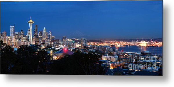 Seattle Panorama At Twilight Metal Print