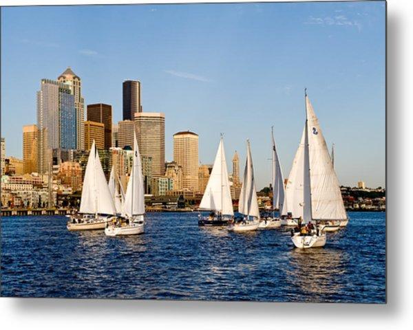 Seattle Sailboats Metal Print by Tom Dowd