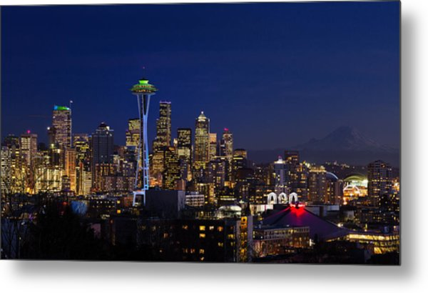 Seattle Seahawks Space Needle Metal Print