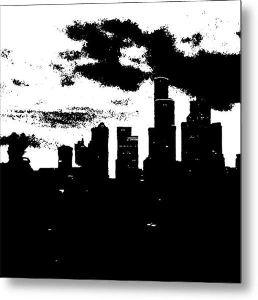 Seattle Skyline In B&w #enlight Metal Print