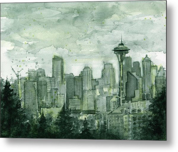 Seattle Skyline Watercolor Space Needle Metal Print
