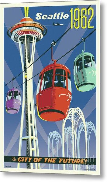 Seattle Poster- Space Needle Vintage Style Metal Print