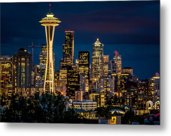 Seattle Space Needle After Dark Metal Print