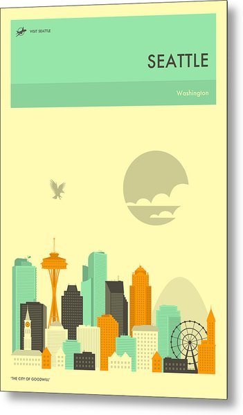 Seattle Travel Poster Metal Print