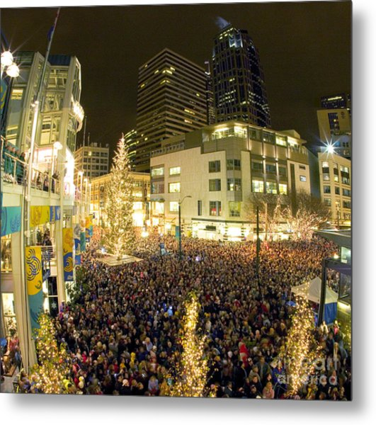 Seattle Westlake Tree Lighting Metal Print