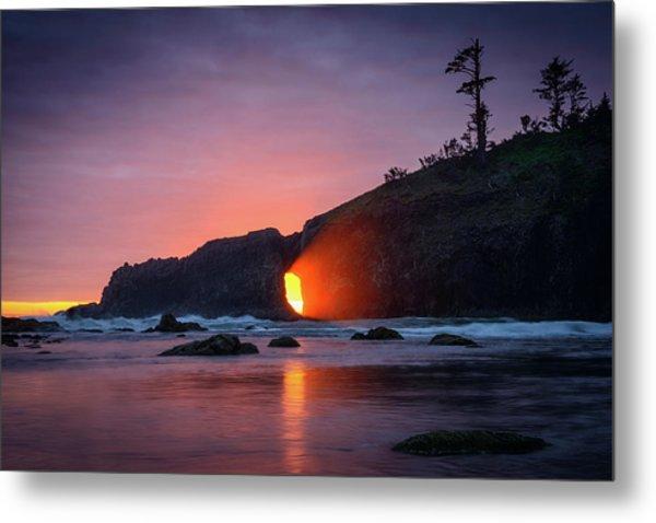 Second Beach Light Shaft Metal Print