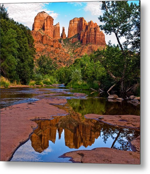 Sedona Cathedral Rock Reflections Metal Print by Dave Dilli