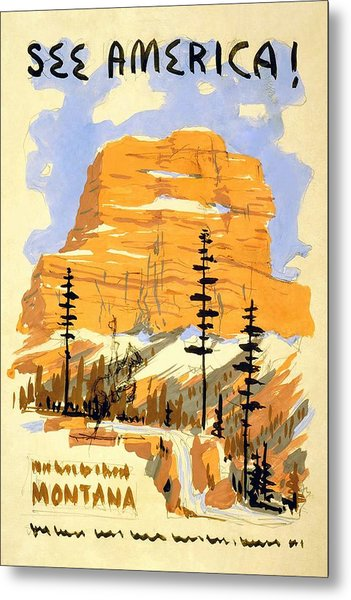 See America - Buttes In Montana - Retro Travel Poster - Vintage Poster Metal Print