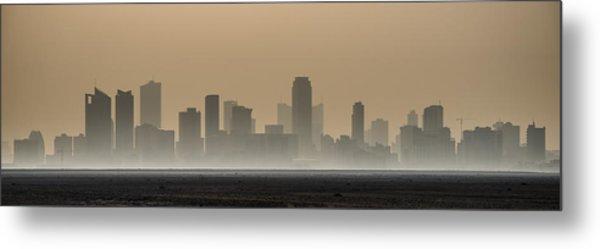 Seef At Sunrise Over The Desert Metal Print